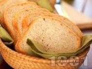 Рецепта Вкусен пълнозърнест хляб с брашно грахам в машина за хляб (домашна хлебопекарна)